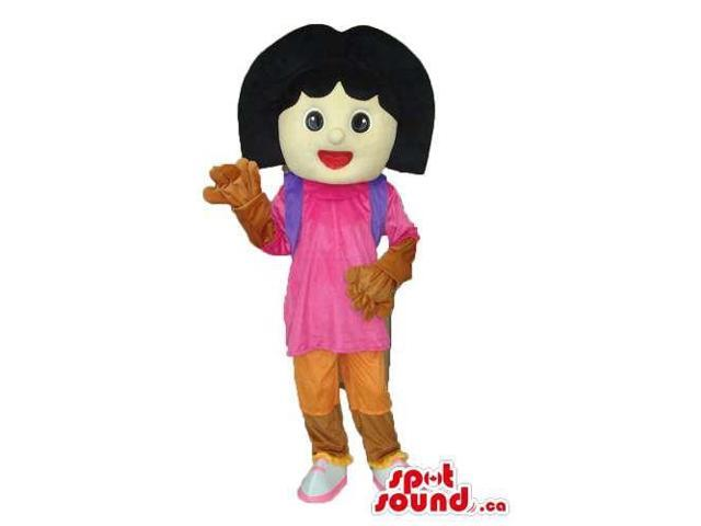 Dora The Explorer Well-Known Cartoon Character Canadian SpotSound Mascot With Gloves