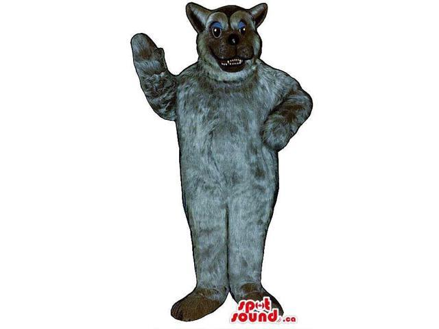 All Grey Cat Plush Canadian SpotSound Mascot With An Angry Face And Blue Eyelids