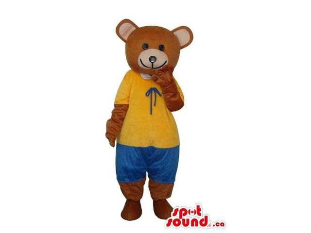 Brown Teddy Bear Canadian SpotSound Mascot Dressed In A Yellow Shirt And Blue Pants