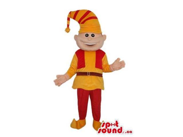 Cute Dwarf Canadian SpotSound Mascot Dressed In Red And Yellow Gear And A Hat