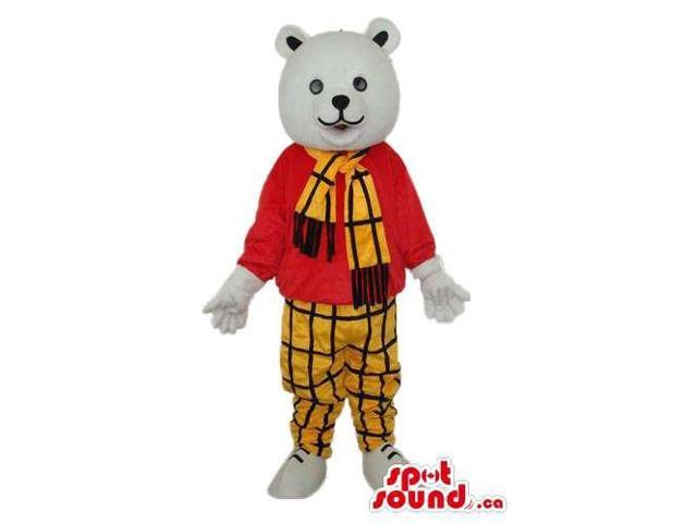 White Bear Plush Canadian SpotSound Mascot Dressed In A Checked Scarf And Pants