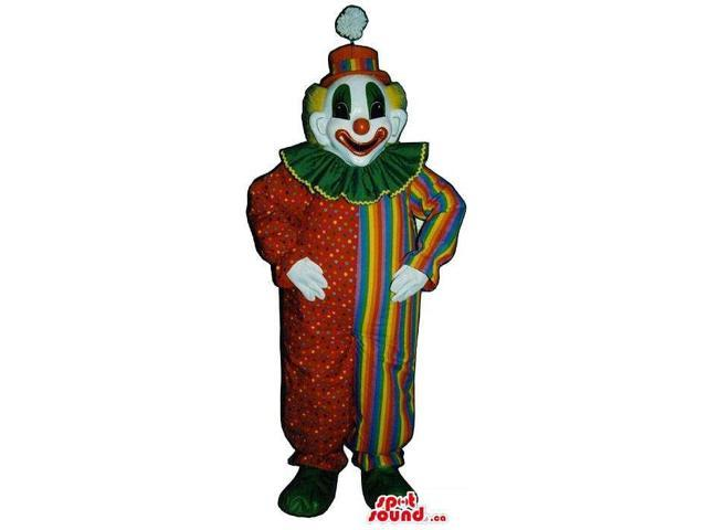 Very Colourful Clown Canadian SpotSound Mascot With Dots, Stripes And A Pompom