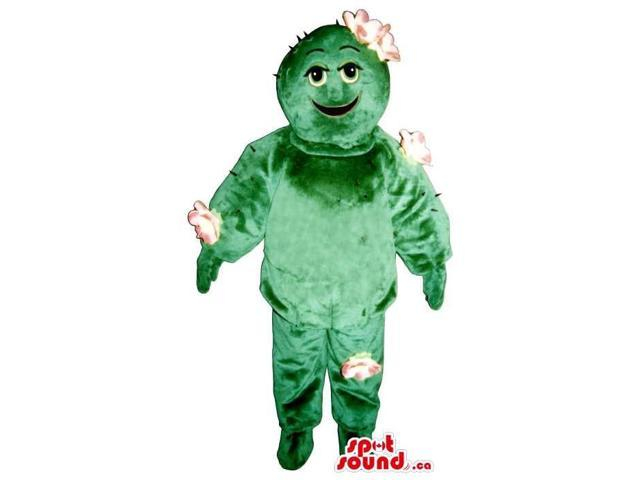 Peculiar Green Cactus Plush Canadian SpotSound Mascot With White Flowers