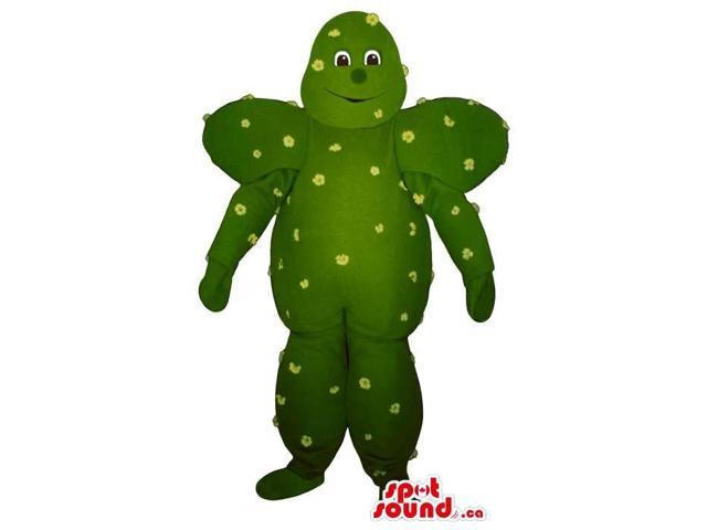 Peculiar Green Cactus Plush Canadian SpotSound Mascot With Small Flowers