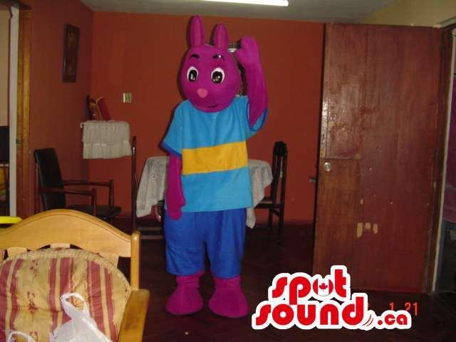 Purple Rabbit Plush Canadian SpotSound Mascot Dressed In A Blue And Yellow T-Shirt