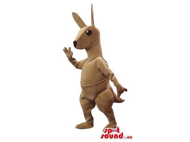 Customised All Beige Kangaroo Plush Canadian SpotSound Mascot With Black Eyes