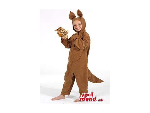 Cute Brown Kangaroo Children Size Plush Costume With A Puppet