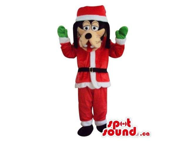 Goofy Disney Cartoon Character Plush Canadian SpotSound Mascot Dressed As Santa