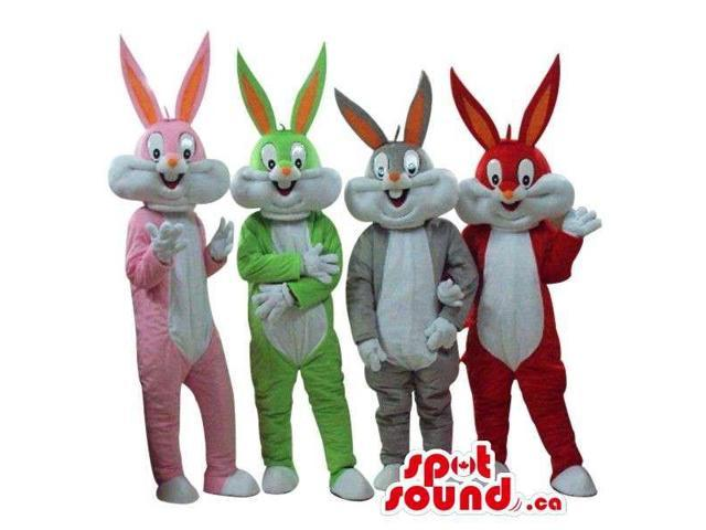 Four Bugs Bunny Alike Cartoon Character Plush Canadian SpotSound Mascots