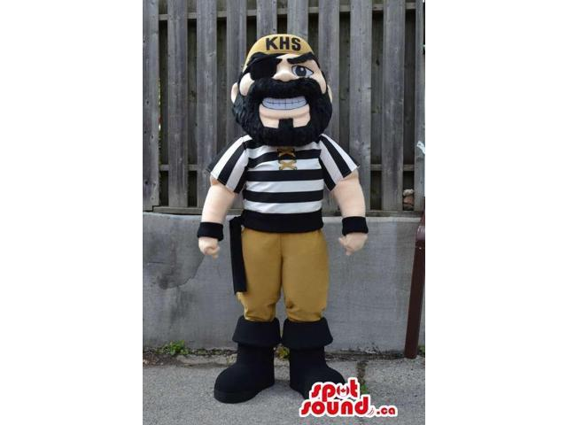 Pirate Canadian SpotSound Mascot In Black And White Striped Shirt And Eye-Patch