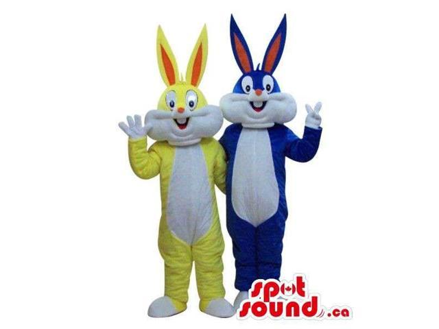 Bugs Bunny Alike Cartoon Character Canadian SpotSound Mascots In Yellow And Blue