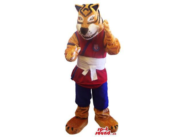 Tiger Plush Canadian SpotSound Mascot Dressed In Red And Blue Martial Arts Gear