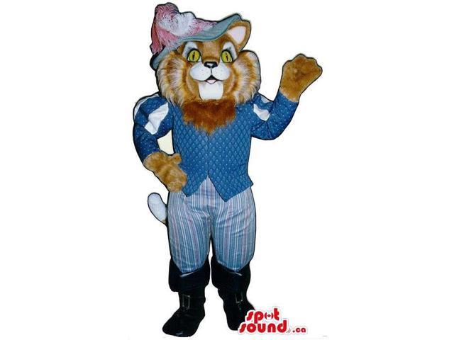 Cat In Boots Children'S Story Character Canadian SpotSound Mascot In Blue Gear