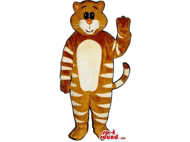 Brown And White Striped Cat Plush Canadian SpotSound Mascot With A White Belly