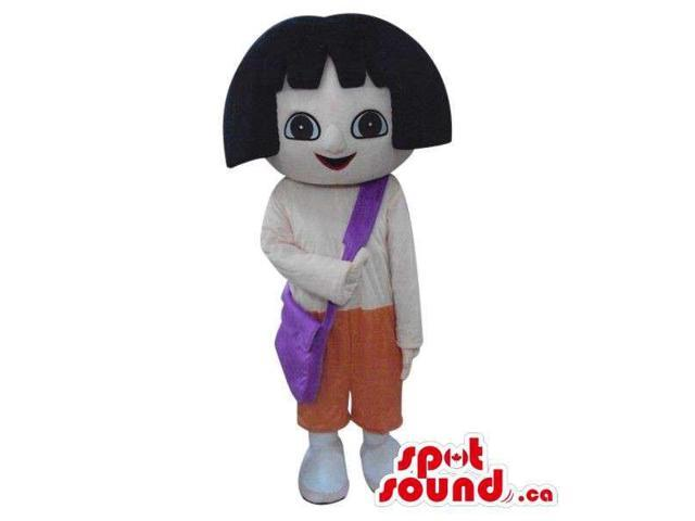 Dora The Explorer Cartoon Character Canadian SpotSound Mascot In White Shirt