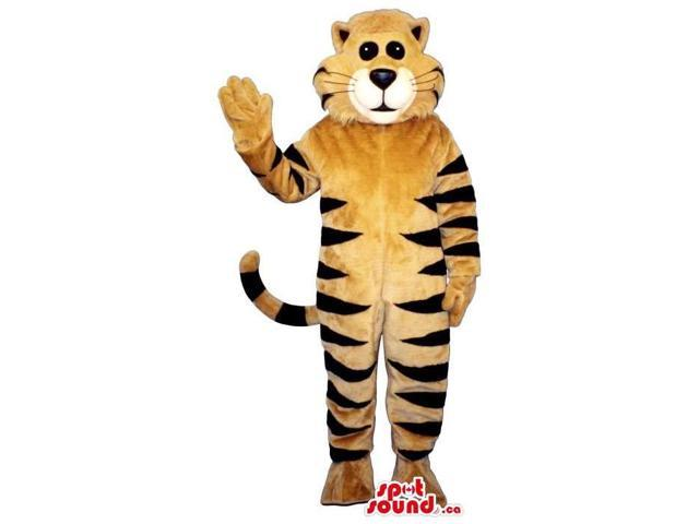 Brown And Black Striped Cat Plush Canadian SpotSound Mascot With A White Mouth
