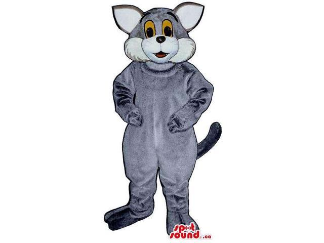 Customised Grey And White Cat Plush Canadian SpotSound Mascot With Yellow Eyes