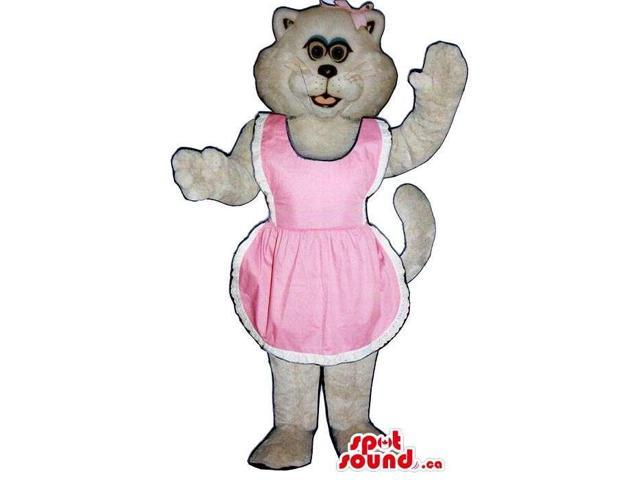 All White Girl Cat Plush Canadian SpotSound Mascot Dressed In A Pink Apron