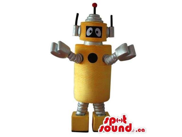 Cute Yellow And Silver Future Space Robot Plush Canadian SpotSound Mascot
