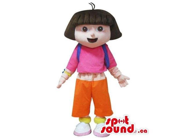 Dora The Explorer Cartoon Character Canadian SpotSound Mascot In A Pink Shirt