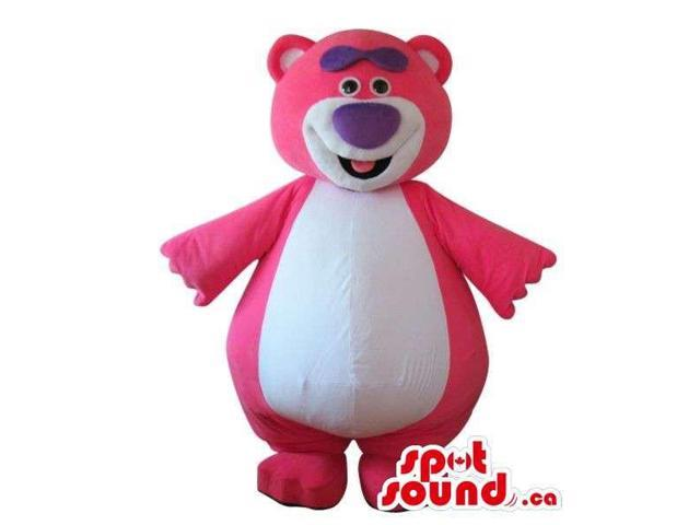 Cute Pink Teddy Bear Plush Canadian SpotSound Mascot With A Large White Belly