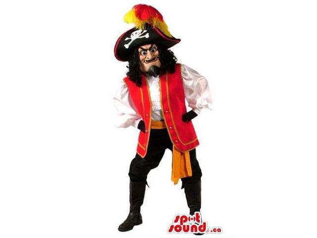 Great Human Pirate Canadian SpotSound Mascot With Red And Black Clothes