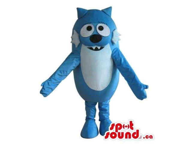 Cute Cosmic Blue Cat Plush Canadian SpotSound Mascot With A White Belly