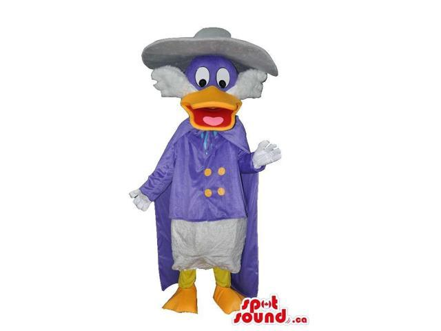 Dark Wing Duck Disney Character Canadian SpotSound Mascot Dressed In Purple Cape