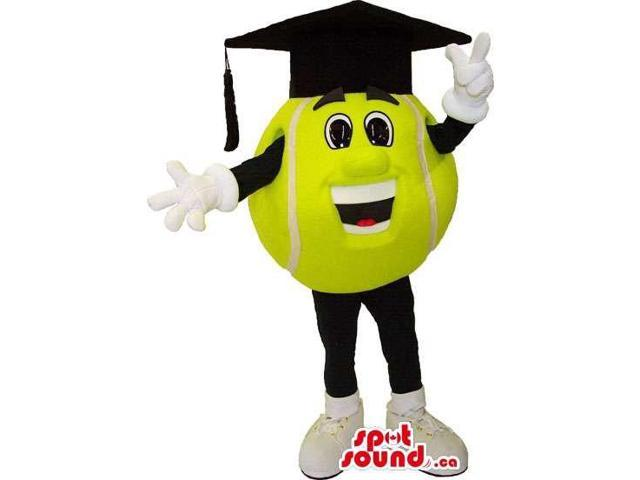 Yellow Tennis Ball Canadian SpotSound Mascot Dressed In A Black Graduation Cap