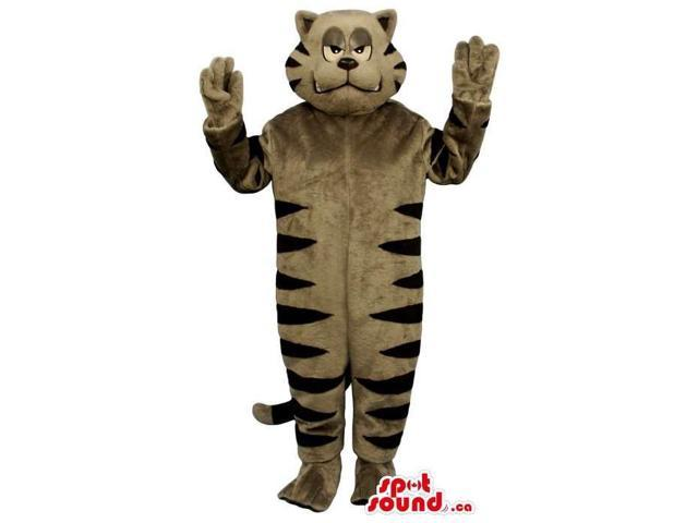 Cartoon Angry Grey And Black Striped Cat Plush Canadian SpotSound Mascot