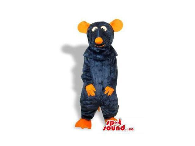 Black Mouse Plush Canadian SpotSound Mascot With Orange Ears And Nose