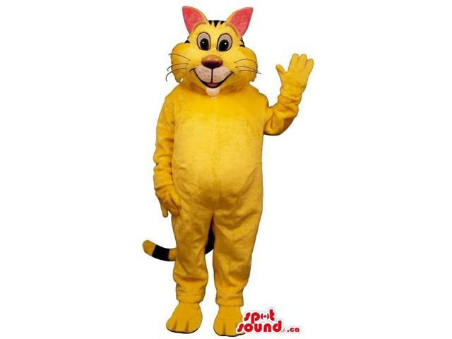 Customised All Yellow Cat Plush Canadian SpotSound Mascot With Pink Ears