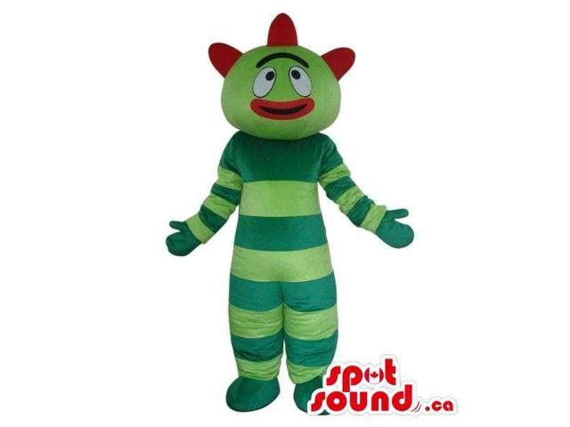Brobee Green Striped Monster Plush Canadian SpotSound Mascot With A Red Mouth