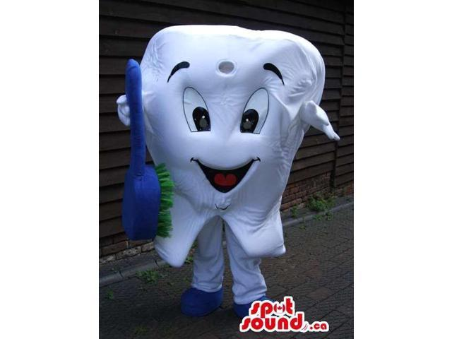 White Large Tooth Canadian SpotSound Mascot With Blue And Green Toothbrush