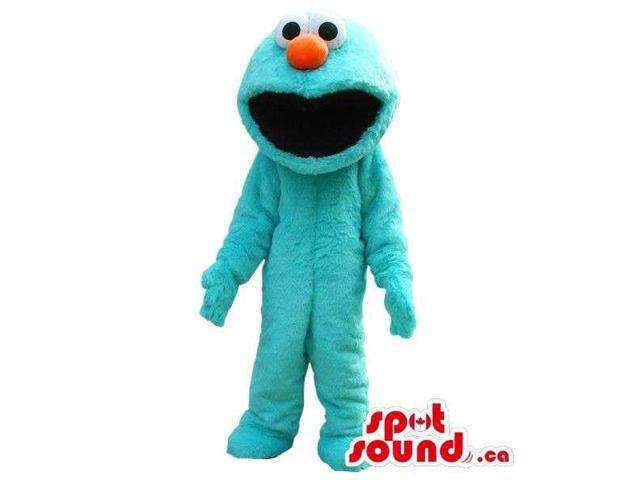 Blue Cookie Monster Alike Woolly Plush Canadian SpotSound Mascot With A Red Nose