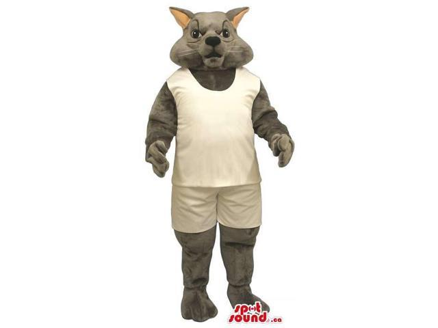 Customised All Grey Cat Plush Canadian SpotSound Mascot Dressed In White Gear
