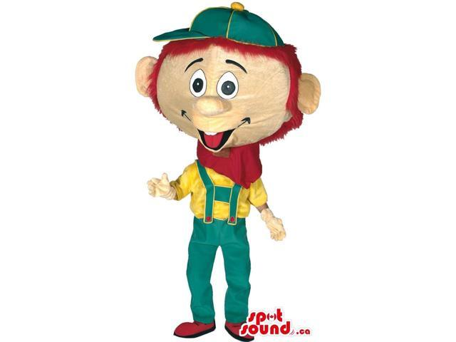 Pinocchio Canadian SpotSound Mascot In Green, Yellow And Red Clothes
