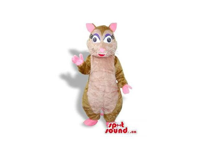 Cute Girl Brown And Pink Mouse Plush Canadian SpotSound Mascot With Eyelashes