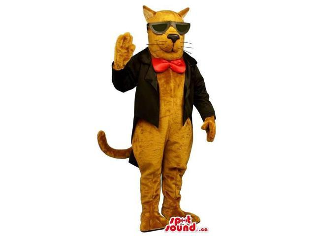 Brown Cat Plush Canadian SpotSound Mascot Dressed In Elegant Gear And Sunglasses