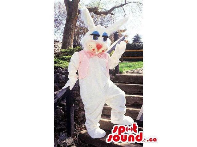 White Rabbit Animal Canadian SpotSound Mascot Dressed In A Pink Vest And Bow Tie