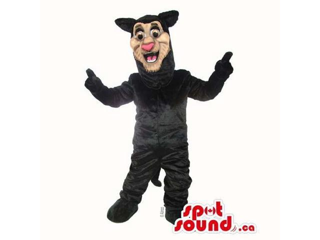 Peculiar Black Panther Animal Plush Canadian SpotSound Mascot With Pink Nose