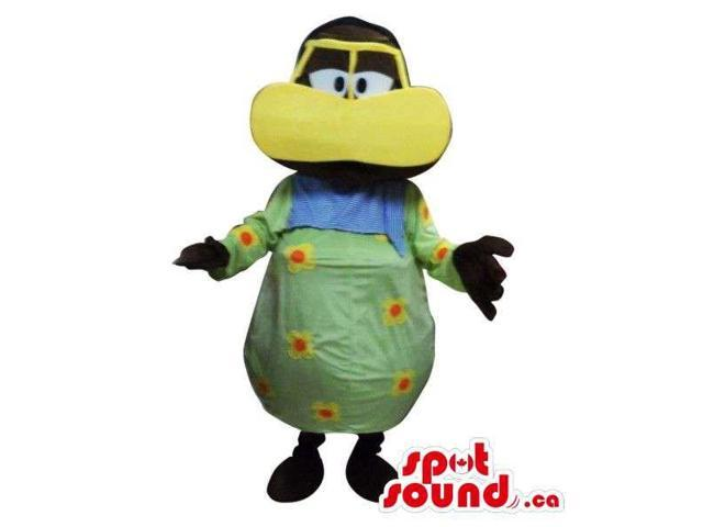 Man Plush Canadian SpotSound Mascot Dressed In A Black Duck Disguise And Dots