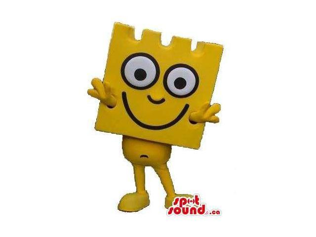 Peculiar Yellow Lego Piece Canadian SpotSound Mascot With Large Round Eyes