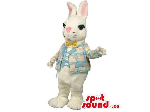 White Rabbit Canadian SpotSound Mascot Dressed In An Elegant Jacket, Vest And Bow Tie