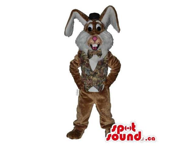 Brown Rabbit Canadian SpotSound Mascot Dressed In An Elegant Vest And Bow Tie