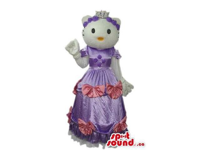Kitty White Cat Well-Known Character Canadian SpotSound Mascot Dressed In A Purple Dress