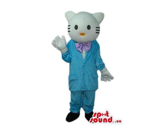 Kitty Cat Boy Cartoon Canadian SpotSound Mascot With Blue Gear And A Bow Tie