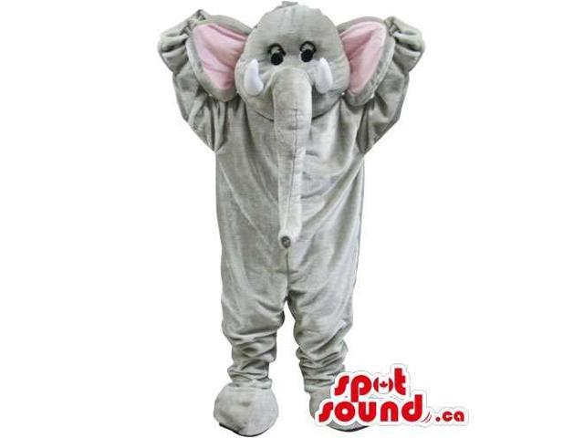 Grey Elephant Animal Canadian SpotSound Mascot With Long Trunk And Pink Ears