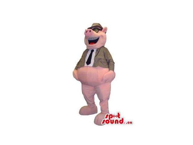 Hilarious Laughing Pig Plush Canadian SpotSound Mascot Dressed In A Jacket And Glasses