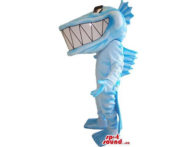Blue And White Fish Plush Canadian SpotSound Mascot With Fins And Giant Teeth